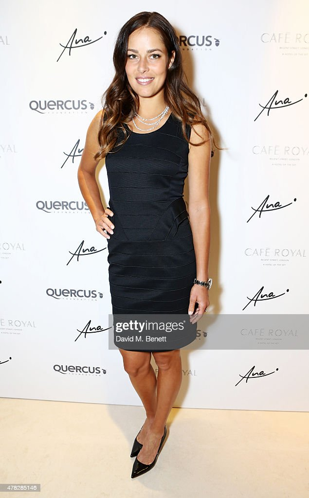 Ana Ivanovic arrives at the Quercus Foundation PreWimbledon Cocktails with Ana Ivanovic in the Ten Room at Hotel Cafe Royal on June 24 2015 in London...