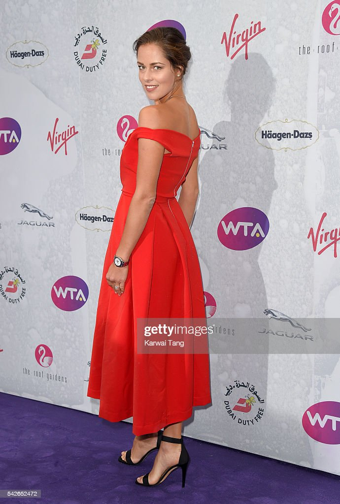 Ana Ivanovic arrives for the WTA Pre-Wimbledon Party at Kensington Roof Gardens on June 23, 2016 in London, England.