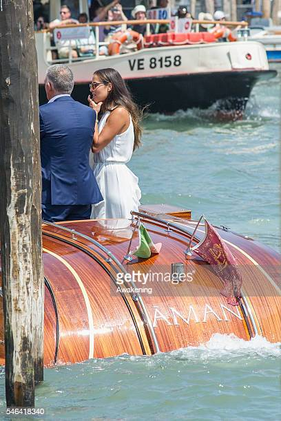 Ana Ivanovic arrives the Aman Grand Canal hotel after the wedding hall at Palazzo Cavalli after the celebration of their marriage on July 12 2016 in...