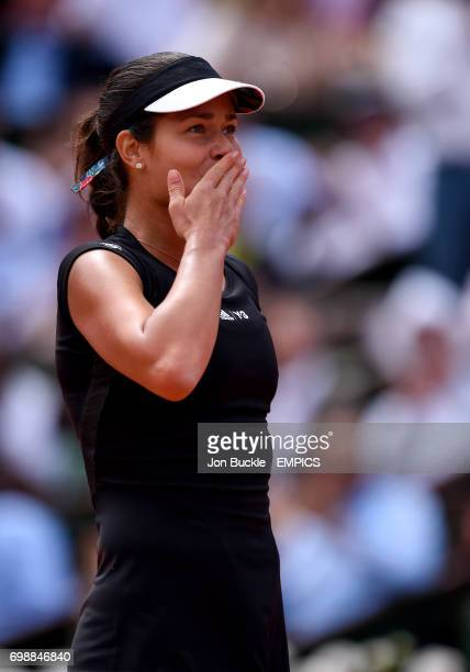 Ana Ivanovic celebrates victory in her Women's QuaterFinal match against Elina Svitolina on day ten of the French Open at Roland Garros on June 2...