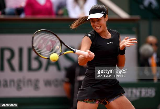 Ana Ivanovic in action in her Women's QuaterFinal match against Elina Svitolina on day ten of the French Open at Roland Garros on June 2 2015 in...