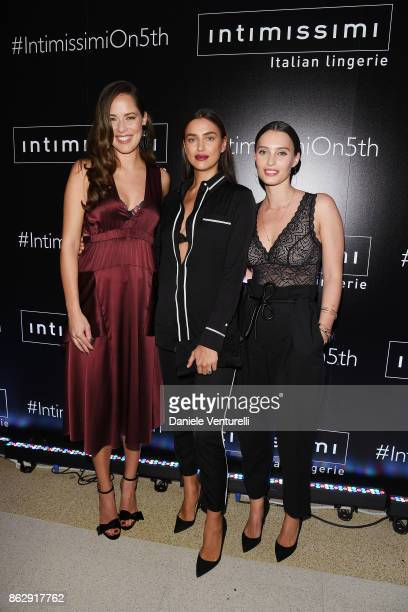 Ana Ivanovic Irina Shayk and Ella Mills attend the Intimissimi Grand Opening on October 18 2017 in New York United States