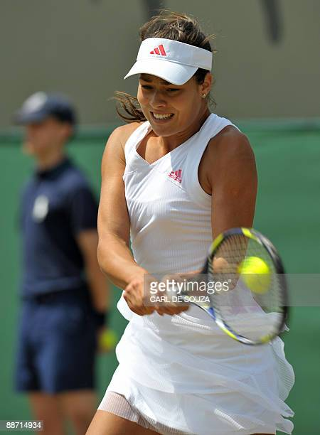 Ana Ivanovic of Croatia plays against Samantha Stosur of Australia in a Women's Singles match in the third round match on the sixth day of the 2009...
