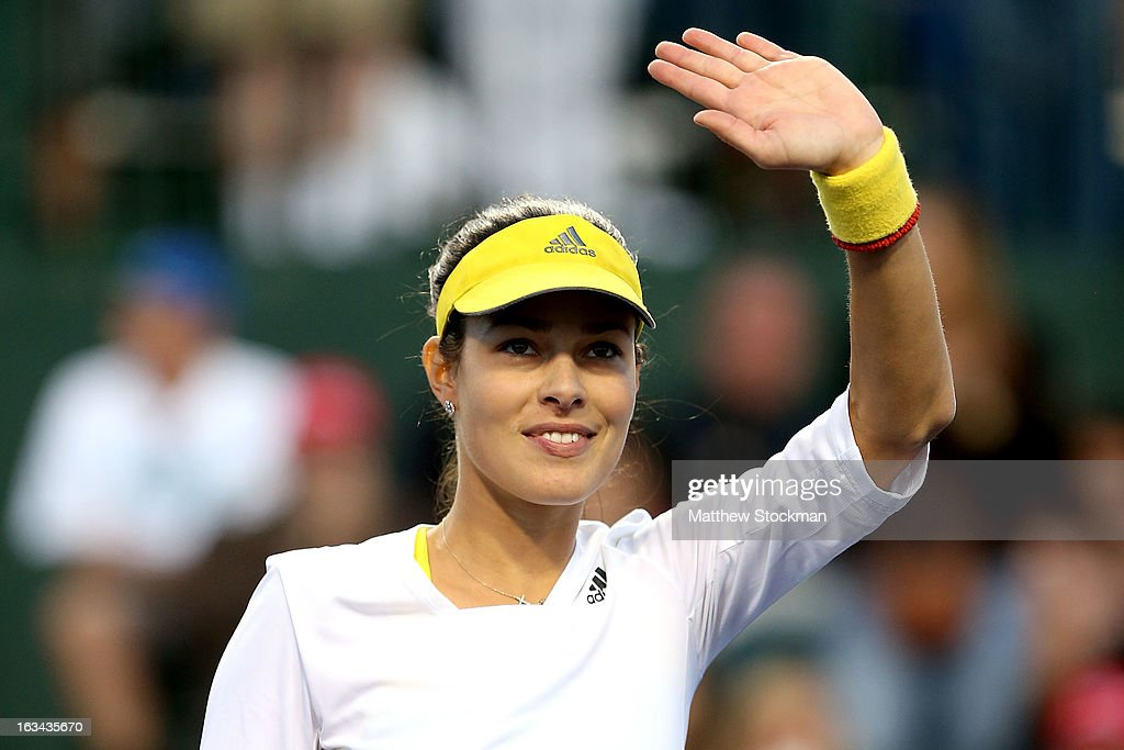Ana Ivanovic of Serbia acknowledges the crowd after defeating Taylor Townsend during the BNP Paribas Open at the Indian Wells Tennis Garden on March 9, 2013 in Indian Wells, California.