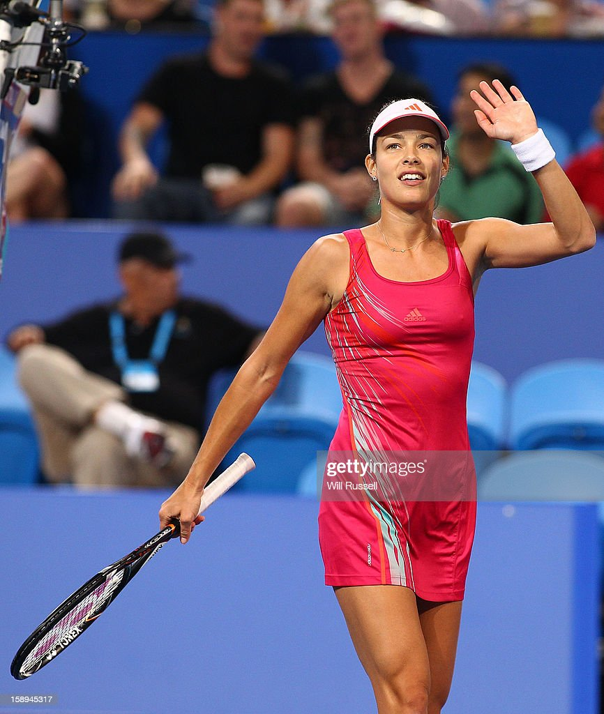 <a gi-track='captionPersonalityLinkClicked' href=/galleries/search?phrase=Ana+Ivanovic&family=editorial&specificpeople=542118 ng-click='$event.stopPropagation()'>Ana Ivanovic</a> of Serbia acknowledges the crowd after winning her her singles match against Tatjana Melek of Germany during day seven of the Hopman Cup at Perth Arena on January 4, 2013 in Perth, Australia.