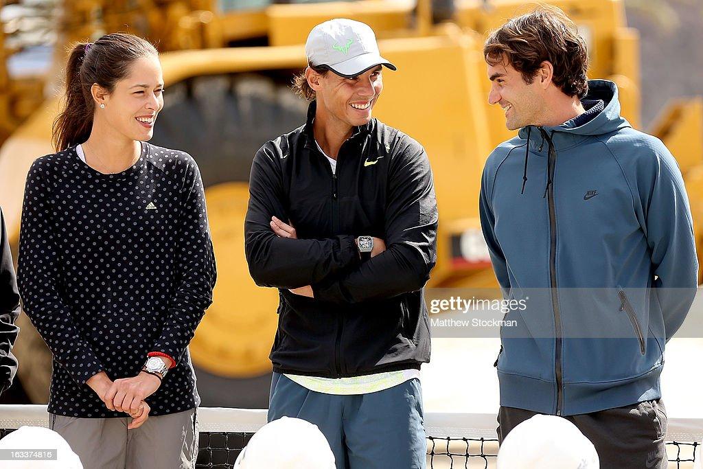 Ana Ivanovic of Serbia and Rafael Nadal of Spain chat with Roger Federer of Switzerland at the ground breaking ceremony for the Indian Wells Tennis Garden expansion during the BNP Paribas Open at the Indian Wells Tennis Garden on March 8, 2013 in Indian Wells, California.