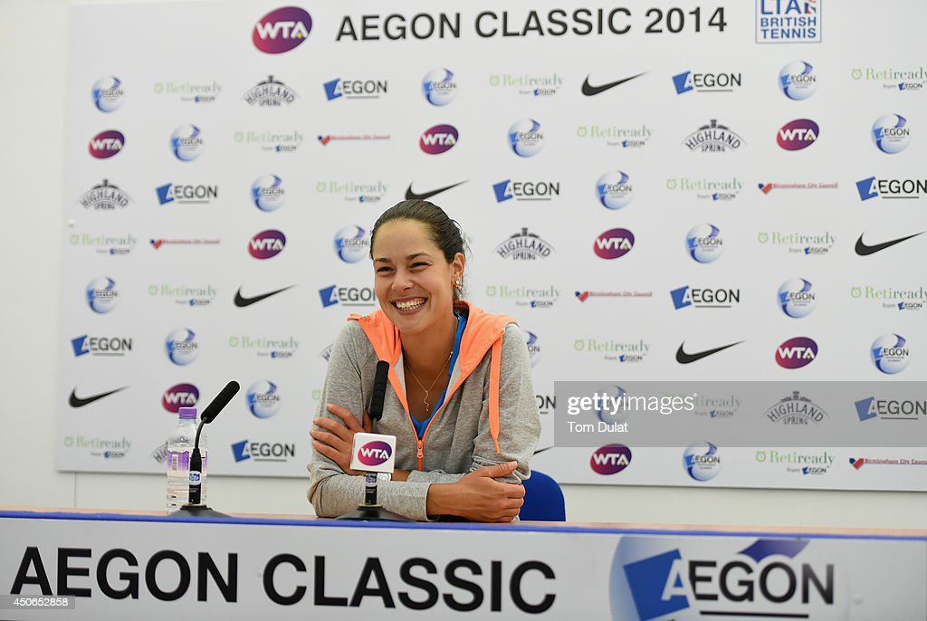 Ana Ivanovic of Serbia answers questions from the media at a press conference following her victory in the Singles Final during Day Seven of the Aegon Classic at Edgbaston Priory Club on June 15, 2014 in Birmingham, England.