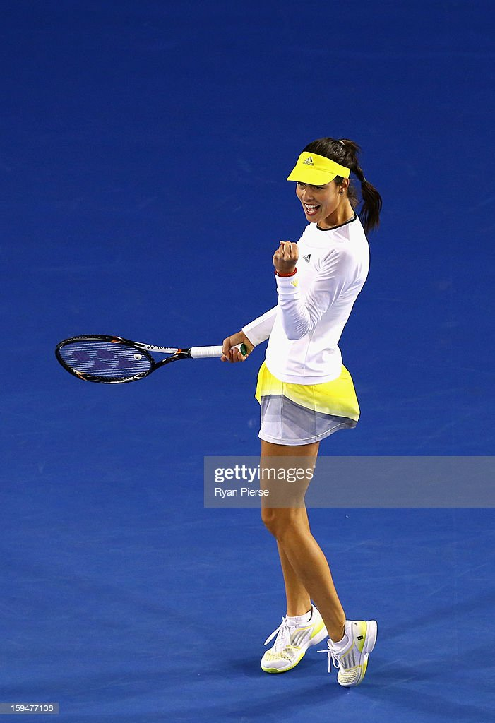 Ana Ivanovic of Serbia celebarates during her first round match against Melinda Czink of Hungary during day one of the 2013 Australian Open at Melbourne Park on January 14, 2013 in Melbourne, Australia.