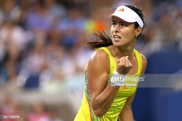 Ana Ivanovic of Serbia celebrates a point in her third round women's match against Sloane Stephens during Day Six of the 2012 US Open at USTA Billie...