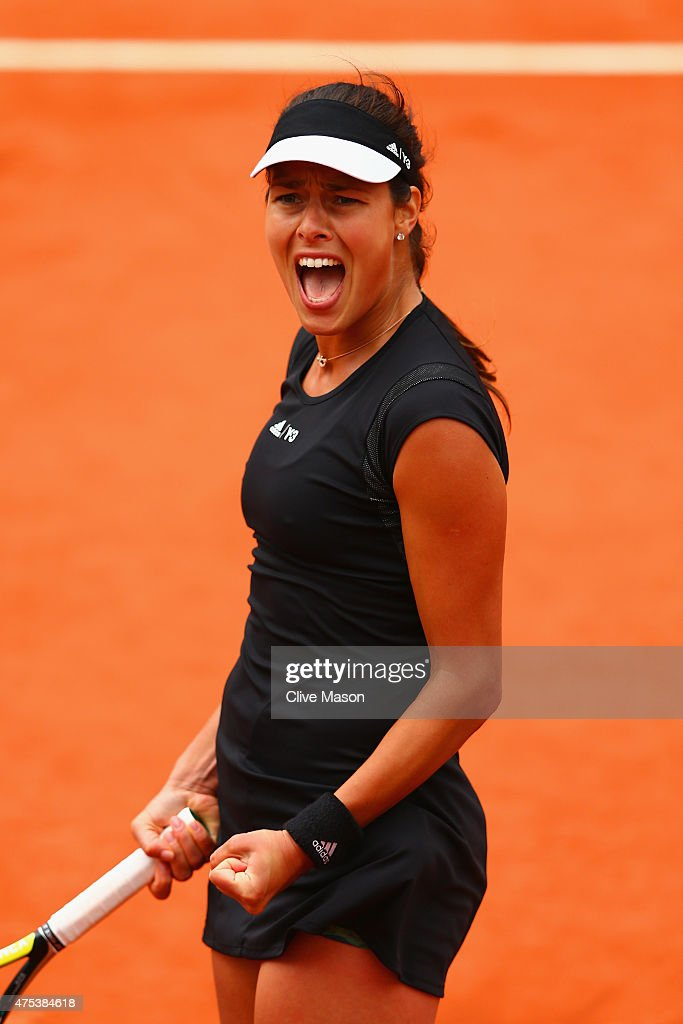 Ana Ivanovic of Serbia celebrates a point in her Women's Singles match against Ekaterina Makarova of Russia on day eight of the 2015 French Open at Roland Garros on May 31, 2015 in Paris, France.
