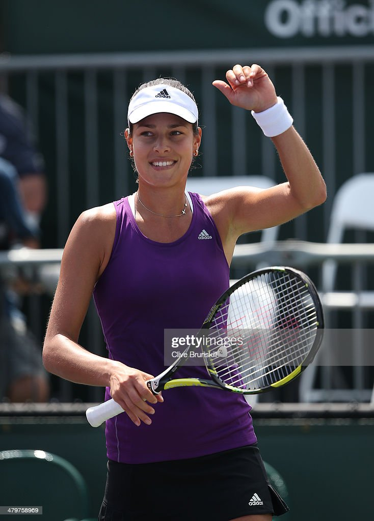 <a gi-track='captionPersonalityLinkClicked' href=/galleries/search?phrase=Ana+Ivanovic&family=editorial&specificpeople=542118 ng-click='$event.stopPropagation()'>Ana Ivanovic</a> of Serbia celebrates after her straght sets victory against Lauren Davis of the United States during their second round match during day 4 at the Sony Open at Crandon Park Tennis Center on March 20, 2014 in Key Biscayne, Florida.