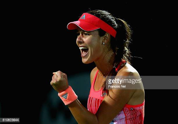 Ana Ivanovic of Serbia celebrates apoint in her match against Simona Halep of Romania during day three of the WTA Dubai Duty Free Tennis Championship...