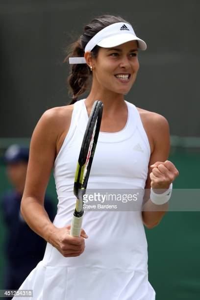 Ana Ivanovic of Serbia celebrates during her Ladies' Singles second round match against Jie Zheng of China on day four of the Wimbledon Lawn Tennis...