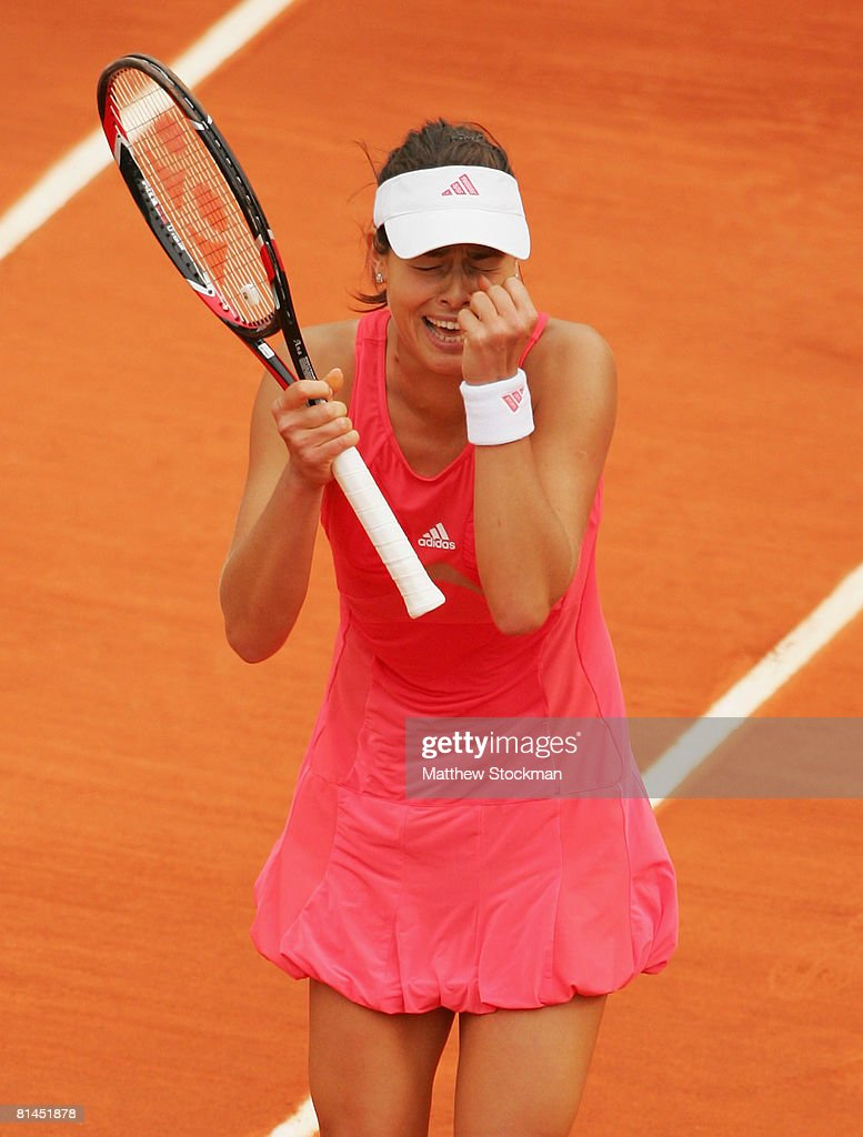 Ana Ivanovic of Serbia celebrates following her victory during the Women's Singles Semi Final match against Jelena Jankovic of Serbia on day twelve of the French Open at Roland Garros on June 5, 2008 in Paris, France.
