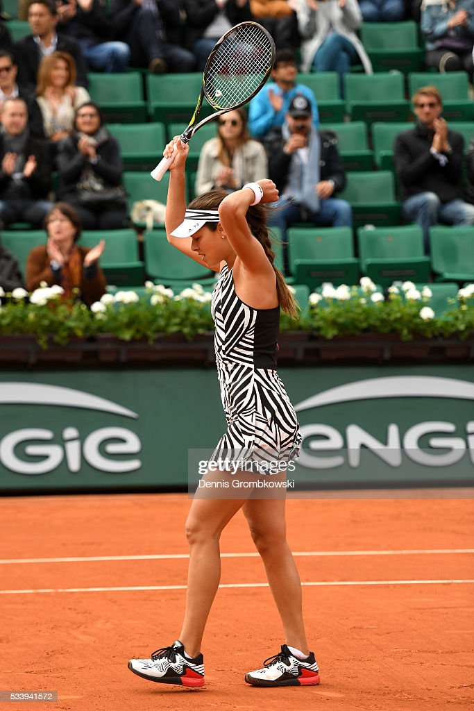 <a gi-track='captionPersonalityLinkClicked' href=/galleries/search?phrase=Ana+Ivanovic&family=editorial&specificpeople=542118 ng-click='$event.stopPropagation()'>Ana Ivanovic</a> of Serbia celebrates following victory during the Women's Singles first round match against Oceane Dodin of France on day three of the 2016 French Open at Roland Garros on May 24, 2016 in Paris, France.