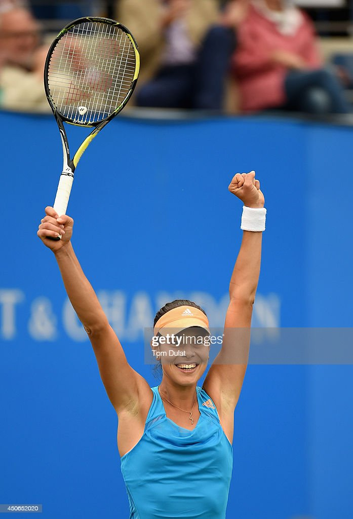 Ana Ivanovic of Serbia celebrates her victory in the Singles Final during Day Seven of the Aegon Classic at Edgbaston Priory Club on June 15, 2014 in Birmingham, England.