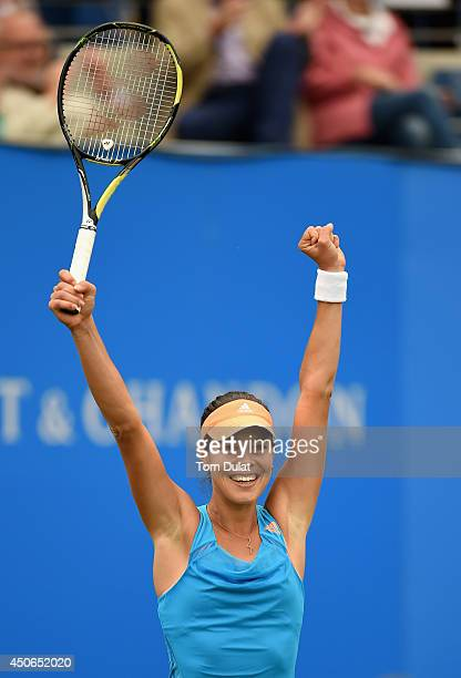 Ana Ivanovic of Serbia celebrates her victory in the Singles Final during Day Seven of the Aegon Classic at Edgbaston Priory Club on June 15 2014 in...