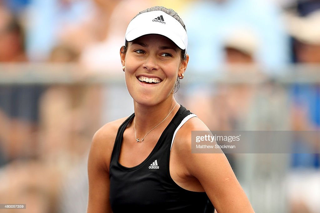 <a gi-track='captionPersonalityLinkClicked' href=/galleries/search?phrase=Ana+Ivanovic&family=editorial&specificpeople=542118 ng-click='$event.stopPropagation()'>Ana Ivanovic</a> of Serbia celebrates her win over Flavia Pennetta of Italy during the Sony Open at the Crandon Park Tennis Center on March 22, 2014 in Key Biscayne, Florida.