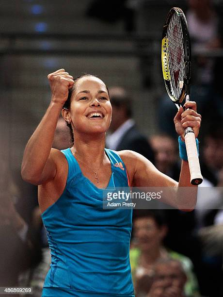 Ana Ivanovic of Serbia celebrates match point during her semi final match against Jelena Jankovic of Serbia on day six of the Porsche Tennis Grand...