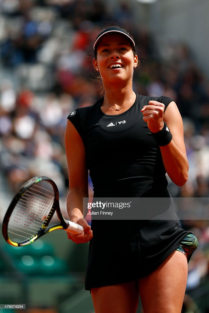<a gi-track='captionPersonalityLinkClicked' href=/galleries/search?phrase=Ana+Ivanovic&family=editorial&specificpeople=542118 ng-click='$event.stopPropagation()'>Ana Ivanovic</a> of Serbia celebrates match point in her Women's Singles match against Donna Vekic of Croatia on day six of the 2015 French Open at Roland Garros on May 29, 2015 in Paris, France.