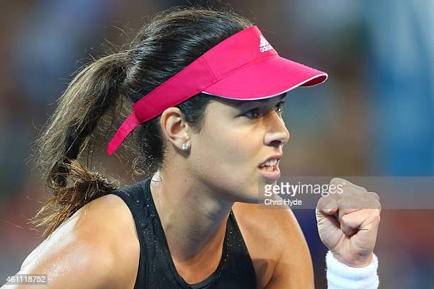 Ana Ivanovic of Serbia celebrates winning a point in her match against Jarmila Gajdosova of Australia during day four of the 2015 Brisbane...
