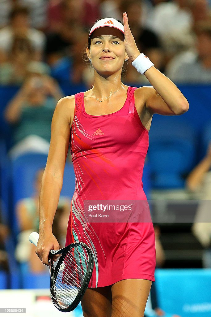 Ana Ivanovic of Serbia celebrates winning her singles match against Ashleigh Barty of Australia during day five of the Hopman Cup at Perth Arena on January 2, 2013 in Perth, Australia.