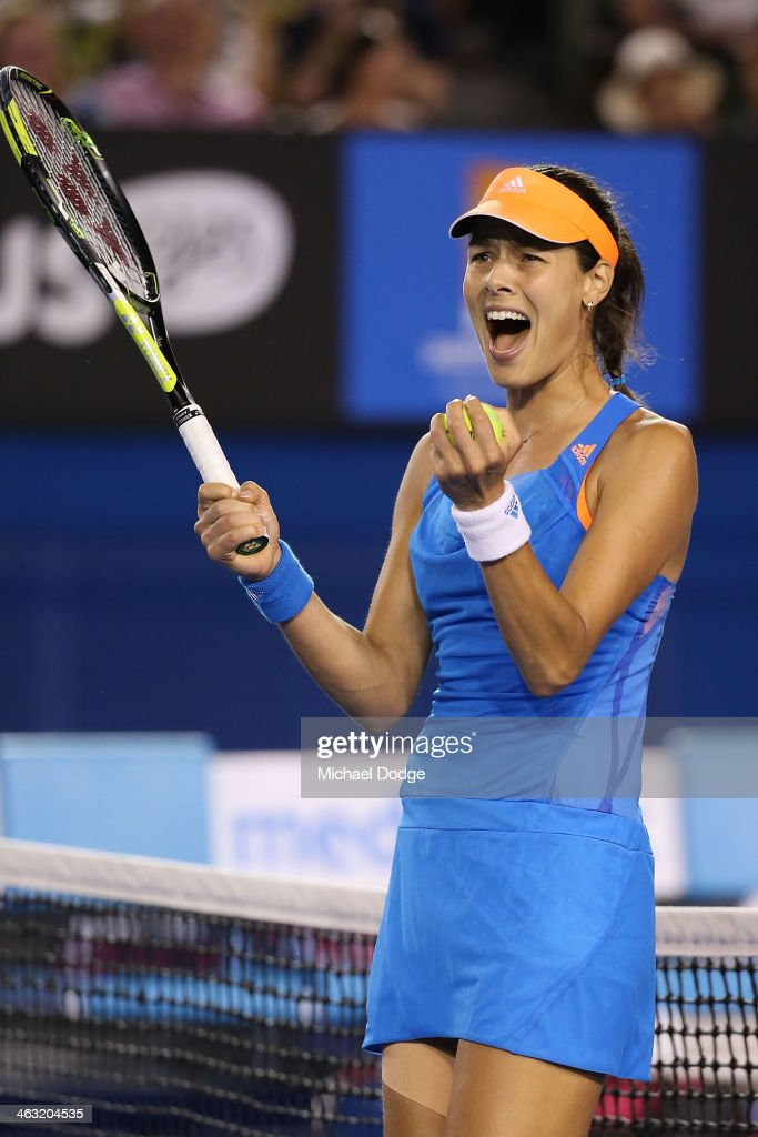 Ana Ivanovic of Serbia celebrates winning match point in her third round match against Samantha Stosur of Australiaduring day five of the 2014 Australian Open at Melbourne Park on January 17, 2014 in Melbourne, Australia.