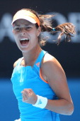 Ana Ivanovic of Serbia celebrates winning the second set in her fourth round match against Serena Williams of the United States during day seven of...
