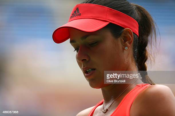 Ana Ivanovic of Serbia competes against Dominika Cibulkova of Slovakia in their Women's Singles First Round match on Day One of the 2015 US Open at...