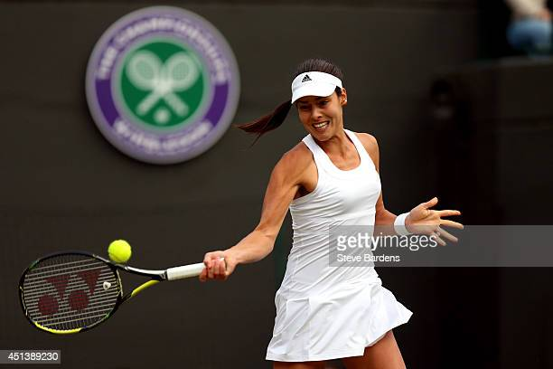 Ana Ivanovic of Serbia during her Ladies' Singles third round match against Sabine Lisicki of Germany on day six of the Wimbledon Lawn Tennis...