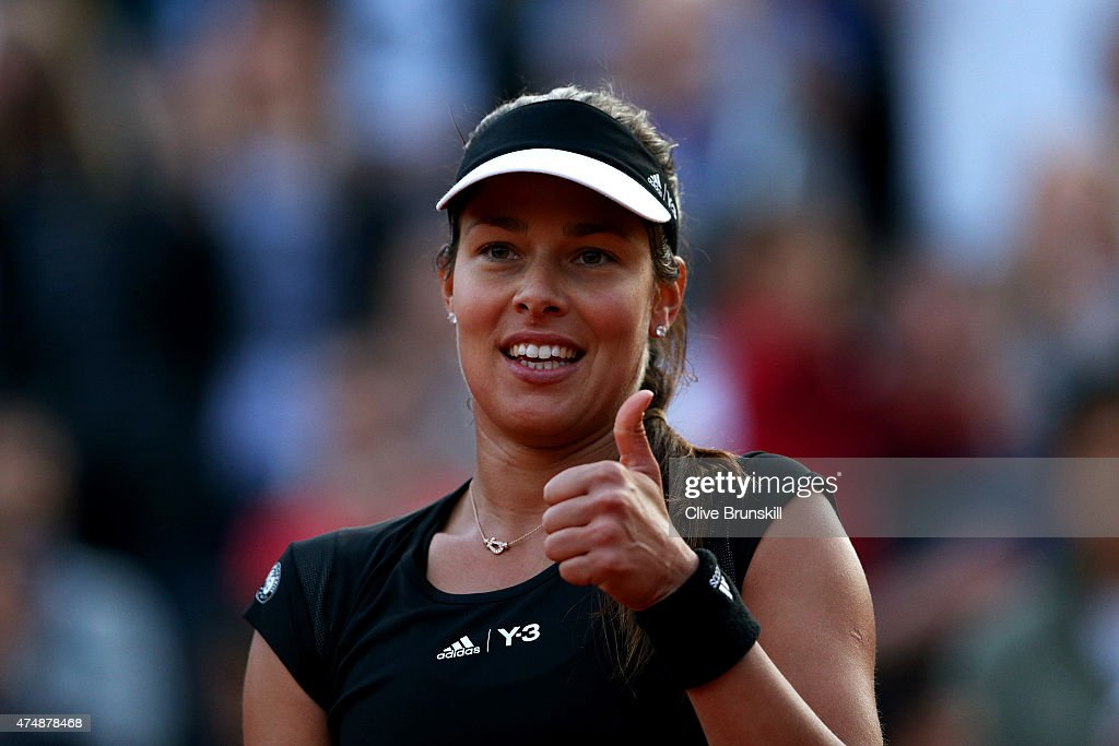 Ana Ivanovic of Serbia gives the thumbs up after victory in her Women's Singles match against Misaki Doi of Japan during day four of the 2015 French Open at Roland Garros on May 27, 2015 in Paris, France.