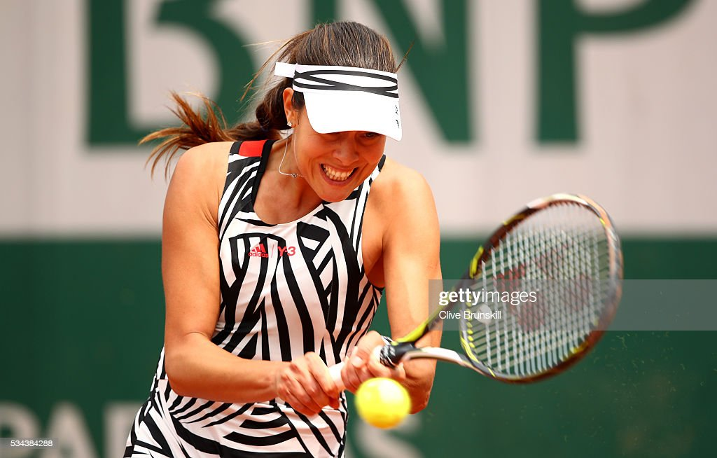 <a gi-track='captionPersonalityLinkClicked' href=/galleries/search?phrase=Ana+Ivanovic&family=editorial&specificpeople=542118 ng-click='$event.stopPropagation()'>Ana Ivanovic</a> of Serbia hits a backhand during the Ladies Singles second round match against Kurumi Nara of Japan on day five of the 2016 French Open at Roland Garros on May 26, 2016 in Paris, France.