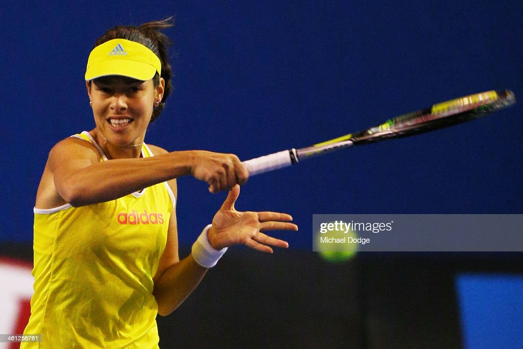 <a gi-track='captionPersonalityLinkClicked' href=/galleries/search?phrase=Ana+Ivanovic&family=editorial&specificpeople=542118 ng-click='$event.stopPropagation()'>Ana Ivanovic</a> of Serbia hits a forehand ahead of the 2014 Australian Open at Melbourne Park on January 8, 2014 in Melbourne, Australia.