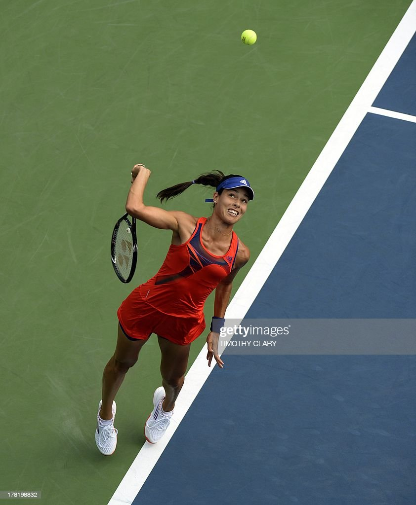 Ana Ivanovic of Serbia hits the ball against Anna Tatishvili of Georgia during their 2013 US Open women's singles match at the USTA Billie Jean King National Tennis Center in New York on August 27 , 2013.