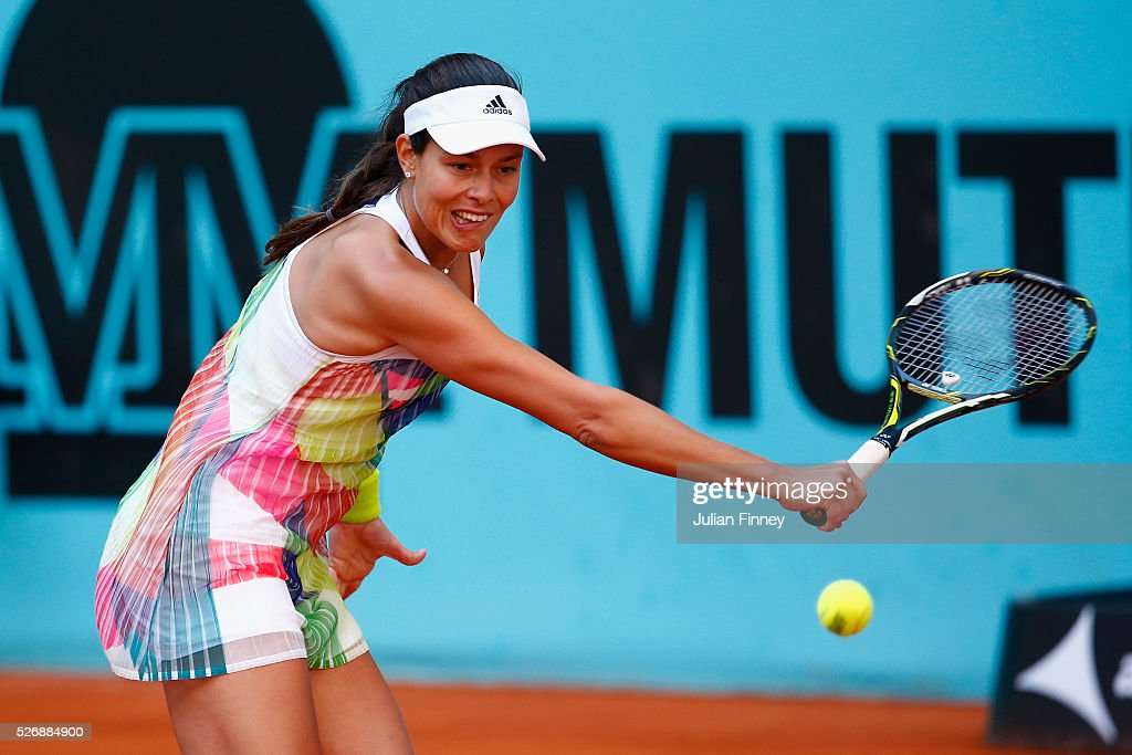 <a gi-track='captionPersonalityLinkClicked' href=/galleries/search?phrase=Ana+Ivanovic&family=editorial&specificpeople=542118 ng-click='$event.stopPropagation()'>Ana Ivanovic</a> of Serbia in action against Katerina Siniakova of Czech Republic during day two of the Mutua Madrid Open tennis tournament at the Caja Magica on May 01, 2016 in Madrid, Spain.