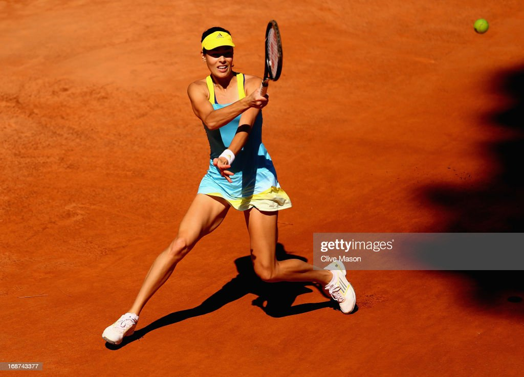 <a gi-track='captionPersonalityLinkClicked' href=/galleries/search?phrase=Ana+Ivanovic&family=editorial&specificpeople=542118 ng-click='$event.stopPropagation()'>Ana Ivanovic</a> of Serbia in action during her first round match against Urszula Radwanska of Poland during day three of the Internazionali BNL d'Italia 2013 at the Foro Italico Tennis Centre on May 14, 2013 in Rome, Italy.
