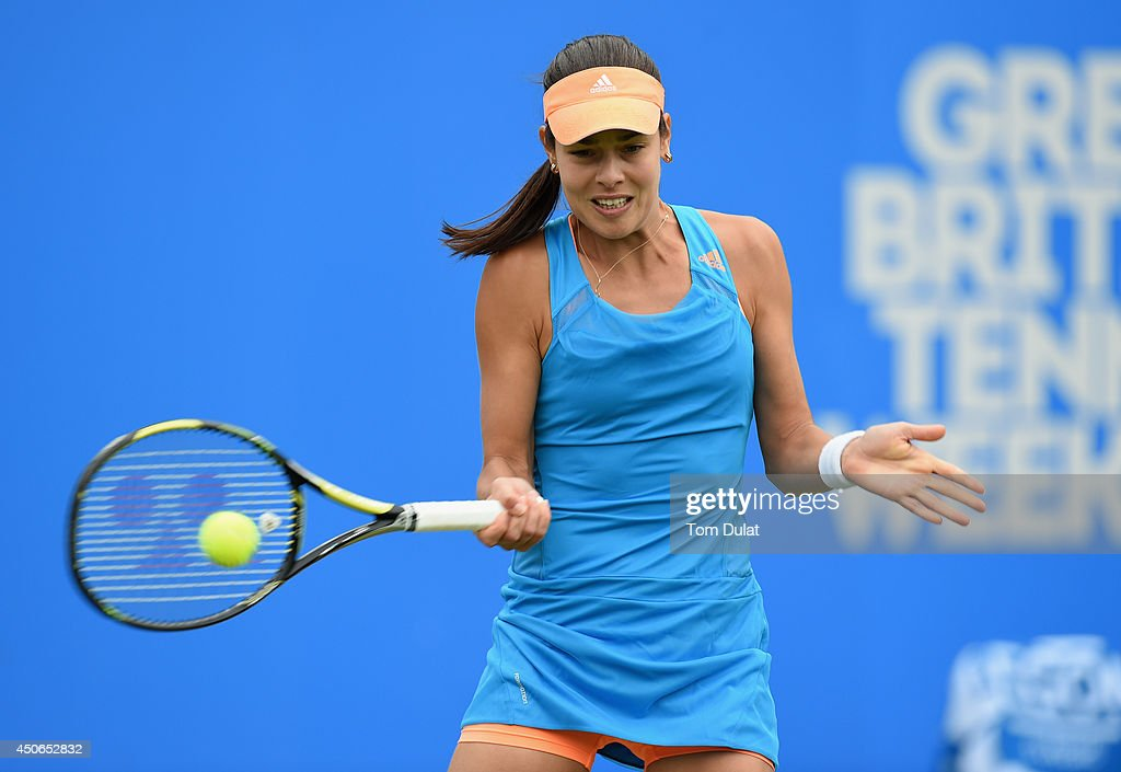 Ana Ivanovic of Serbia in action during the Singles Final during Day Seven of the Aegon Classic at Edgbaston Priory Club on June 15, 2014 in Birmingham, England.