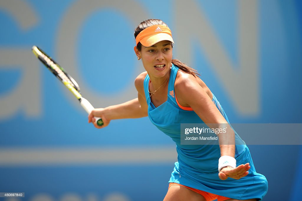 <a gi-track='captionPersonalityLinkClicked' href=/galleries/search?phrase=Ana+Ivanovic&family=editorial&specificpeople=542118 ng-click='$event.stopPropagation()'>Ana Ivanovic</a> of Serbia in action in her semi-final match against Shuai Zhang of China during day six of the Aegon Classic at Edgbaston Priory Club on June 14, 2014 in Birmingham, England.