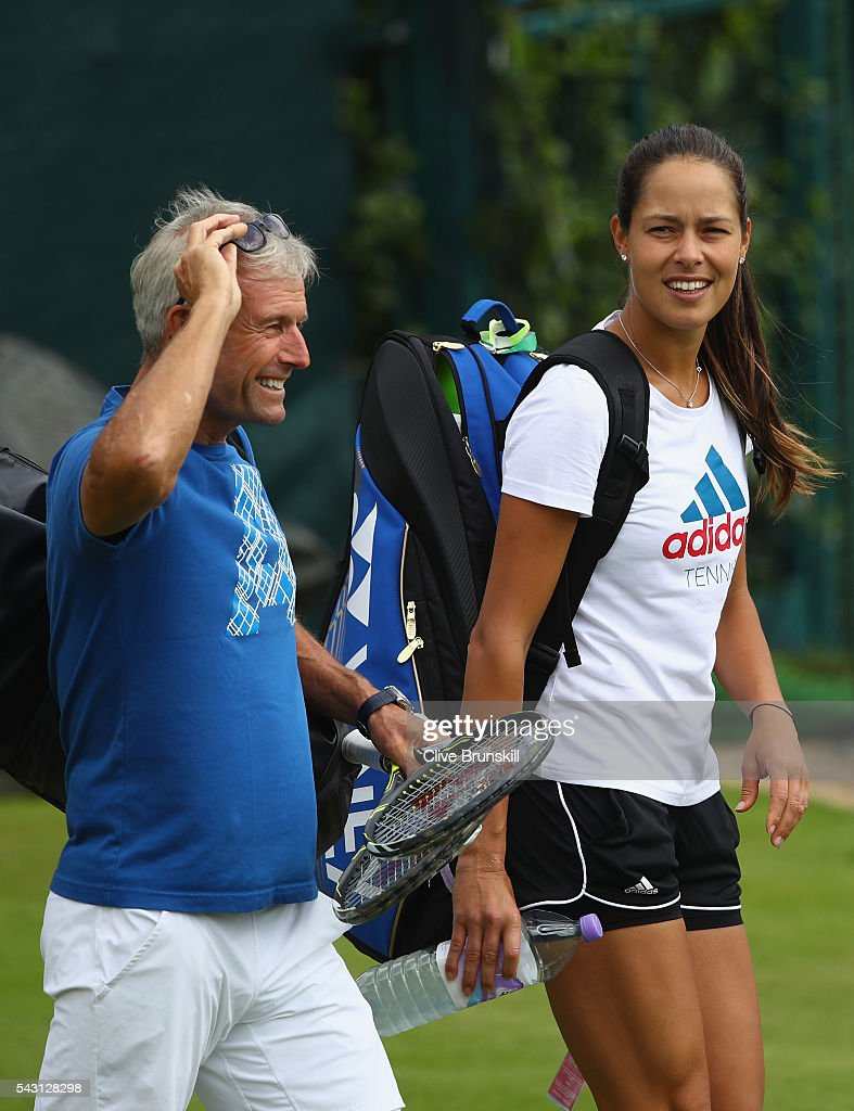 <a gi-track='captionPersonalityLinkClicked' href=/galleries/search?phrase=Ana+Ivanovic&family=editorial&specificpeople=542118 ng-click='$event.stopPropagation()'>Ana Ivanovic</a> of Serbia in good spirits with her coach <a gi-track='captionPersonalityLinkClicked' href=/galleries/search?phrase=Nigel+Sears&family=editorial&specificpeople=582385 ng-click='$event.stopPropagation()'>Nigel Sears</a> after a practice session prior to the Wimbledon Lawn Tennis Championships at the All England Lawn Tennis and Croquet Club on June 26, 2016 in London, England.