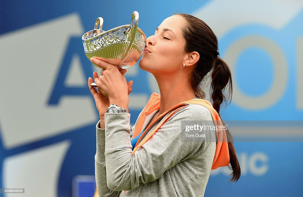 Ana Ivanovic of Serbia kisses the trophy following her victory in the Singles Final during Day Seven of the Aegon Classic at Edgbaston Priory Club on June 15, 2014 in Birmingham, England.