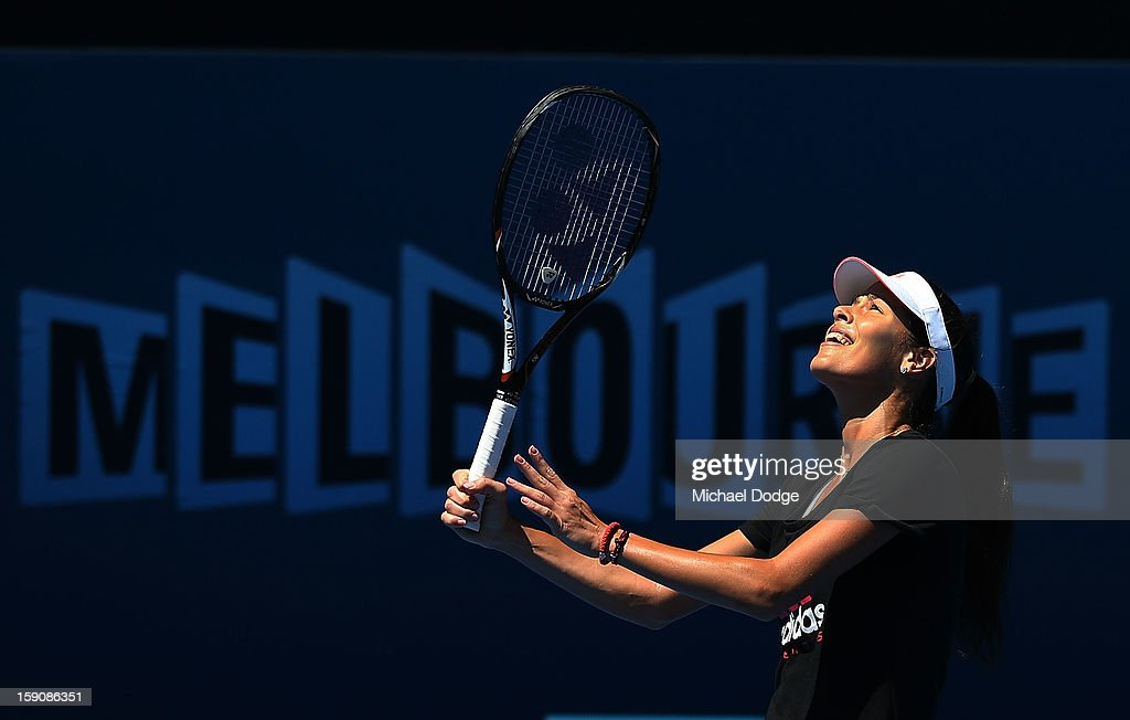 <a gi-track='captionPersonalityLinkClicked' href=/galleries/search?phrase=Ana+Ivanovic&family=editorial&specificpeople=542118 ng-click='$event.stopPropagation()'>Ana Ivanovic</a> of Serbia looks up for the ball during practice ahead of the 2013 Australian Open at Melbourne Park on January 8, 2013 in Melbourne, Australia.