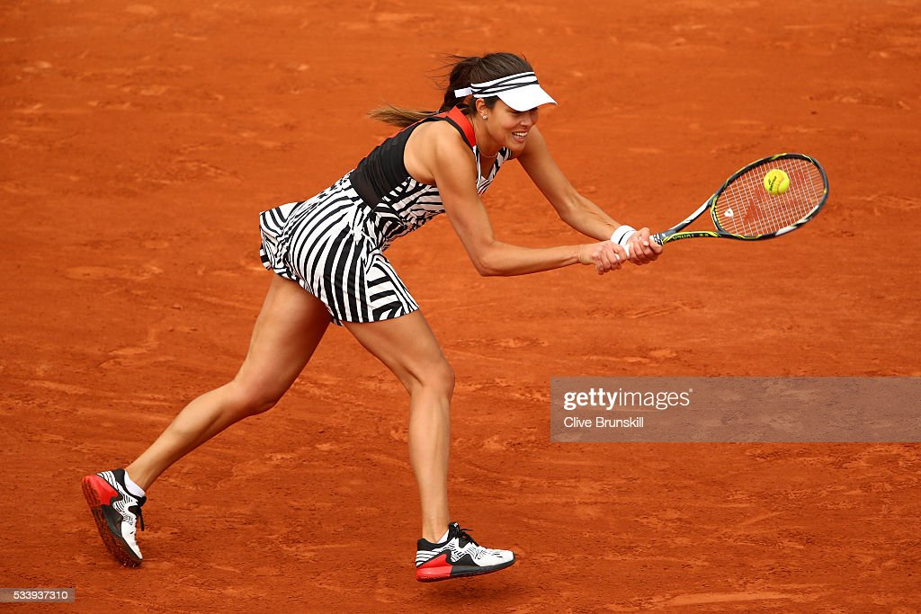 <a gi-track='captionPersonalityLinkClicked' href=/galleries/search?phrase=Ana+Ivanovic&family=editorial&specificpeople=542118 ng-click='$event.stopPropagation()'>Ana Ivanovic</a> of Serbia plays a backhand during the Women's Singles first round match against Oceane Dodin of France on day three of the 2016 French Open at Roland Garros on May 24, 2016 in Paris, France.