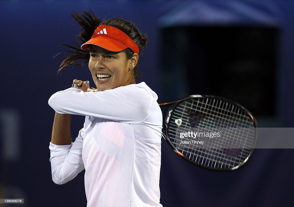 <a gi-track='captionPersonalityLinkClicked' href=/galleries/search?phrase=Ana+Ivanovic&family=editorial&specificpeople=542118 ng-click='$event.stopPropagation()'>Ana Ivanovic</a> of Serbia plays a backhand in her match against Caroline Wozniacki of Denmark during day four of the WTA Dubai Duty Free Tennis Championship on February 23, 2012 in Dubai, United Arab Emirates.