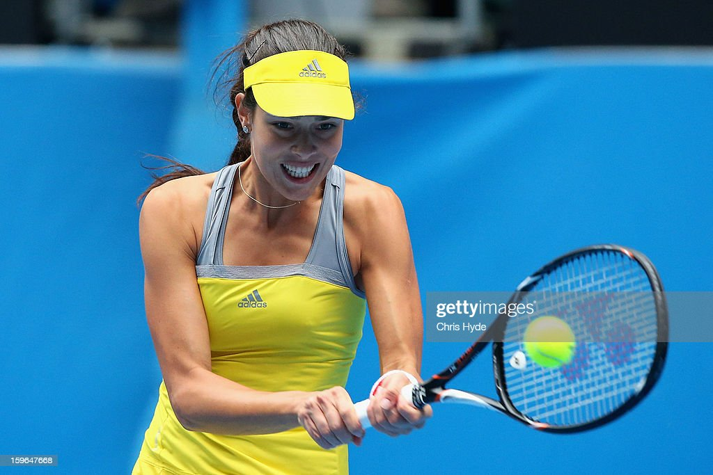 Ana Ivanovic of Serbia plays a backhand in her third round match against Jelena Jankovic of Serbia during day five of the 2013 Australian Open at Melbourne Park on January 18, 2013 in Melbourne, Australia.
