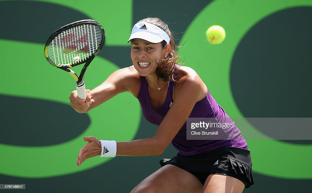 Ana Ivanovic of Serbia plays a forehand against Lauren Davis of the United States during their second round match during day 4 at the Sony Open at Crandon Park Tennis Center on March 20, 2014 in Key Biscayne, Florida.