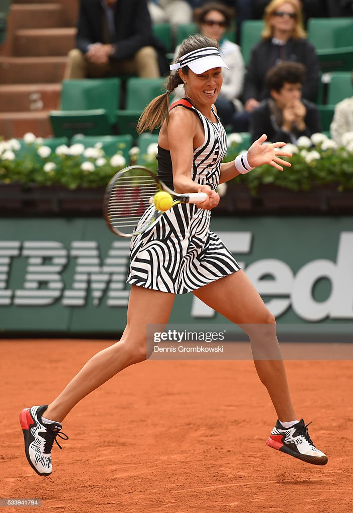<a gi-track='captionPersonalityLinkClicked' href=/galleries/search?phrase=Ana+Ivanovic&family=editorial&specificpeople=542118 ng-click='$event.stopPropagation()'>Ana Ivanovic</a> of Serbia plays a forehand during the Women's Singles first round match against Oceane Dodin of France on day three of the 2016 French Open at Roland Garros on May 24, 2016 in Paris, France.