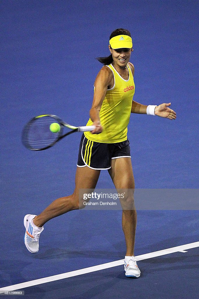<a gi-track='captionPersonalityLinkClicked' href=/galleries/search?phrase=Ana+Ivanovic&family=editorial&specificpeople=542118 ng-click='$event.stopPropagation()'>Ana Ivanovic</a> of Serbia plays a forehand during training ahead of the 2014 Australian Open at Melbourne Park on January 8, 2014 in Melbourne, Australia.