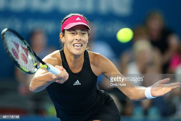 Ana Ivanovic of Serbia plays a forehand in her match against Jarmila Gajdosova of Australia during day four of the 2015 Brisbane International at Pat...