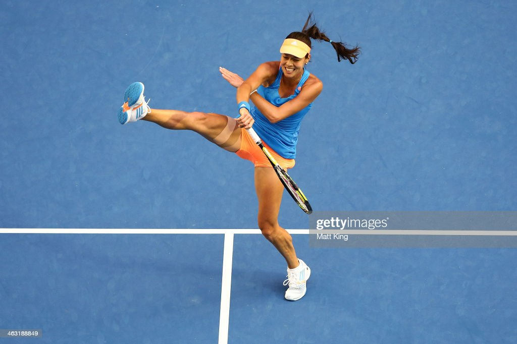 Ana Ivanovic of Serbia plays a forehand in her third round match against Samantha Stosur of Australia during day five of the 2014 Australian Open at Melbourne Park on January 17, 2014 in Melbourne, Australia.