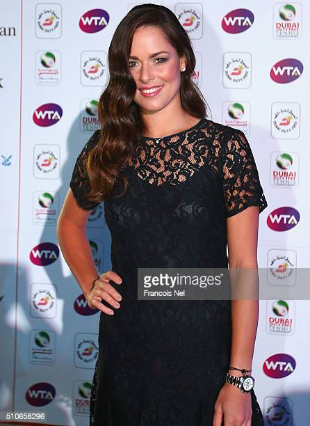 Ana Ivanovic of Serbia pose for a picture at the players party during day two of the WTA Dubai Duty Free Tennis Championship at the Dubai Duty Free...